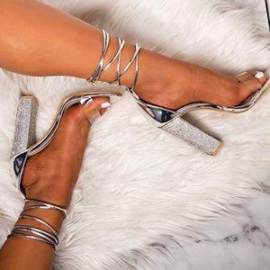 Silver Rhinestone Lace up Strap Block Heel